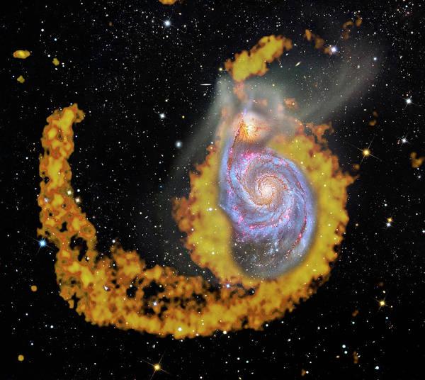 Interacting Galaxies Wall Art - Photograph - Whirlpool Galaxy by Naoj/nasa/esa/stsci/noao/nrao/vla/robert Gendler/roberto Colombari/science Photo Library