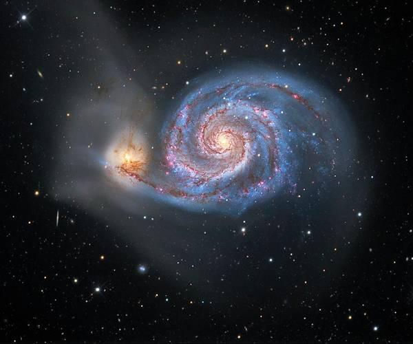 Interacting Galaxies Wall Art - Photograph - Whirlpool Galaxy by Tony & Daphne Hallas/science Photo Library