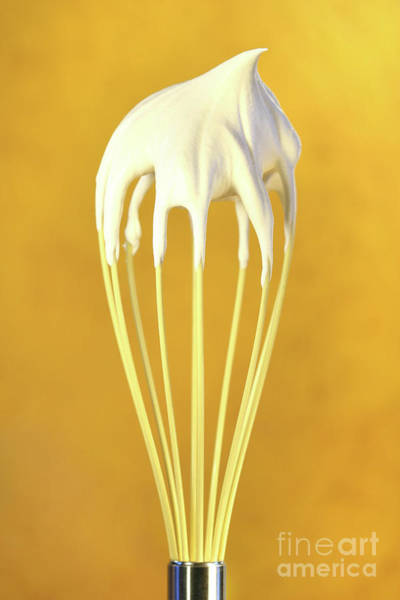 Kitchen Utensil Photograph - Whisk With Whip Cream On Top by Sandra Cunningham