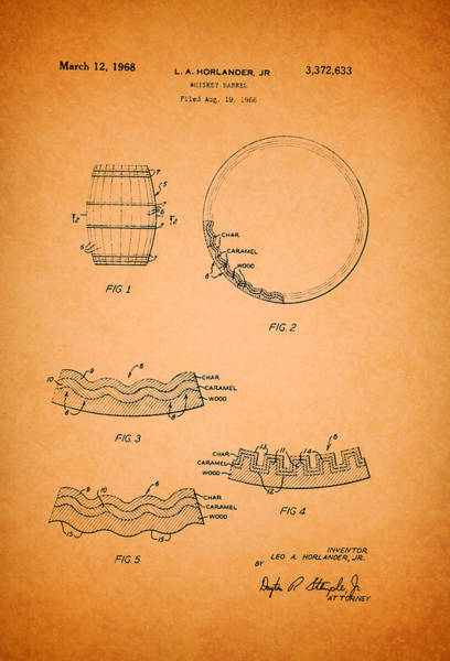Wall Art - Drawing - Whiskey Barrel Patent by Mountain Dreams