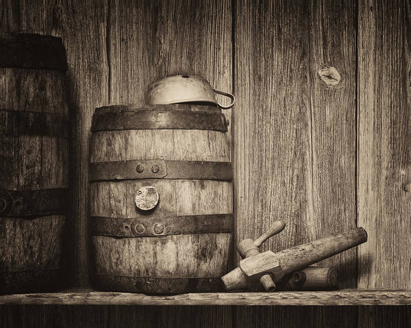 Old Barns Wall Art - Photograph - Whiskey Barrel Still Life by Tom Mc Nemar