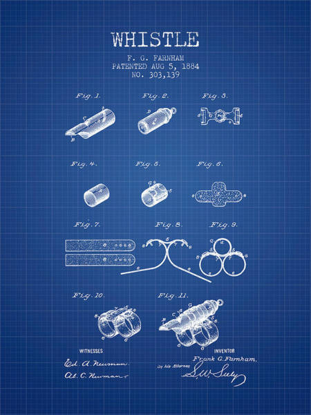 Wall Art - Digital Art - Whistle Patent From 1884 - Blueprint by Aged Pixel