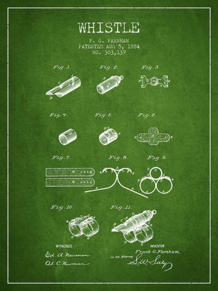 Wall Art - Digital Art - Whistle Patent From 1884 - Green by Aged Pixel