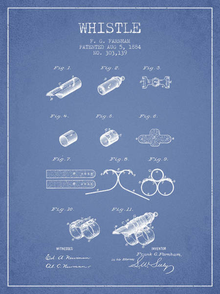 Wall Art - Digital Art - Whistle Patent From 1884 - Light Blue by Aged Pixel