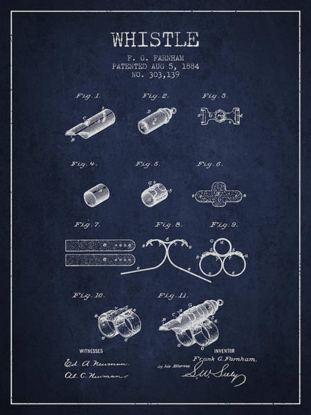 Wall Art - Digital Art - Whistle Patent From 1884 - Navy Blue by Aged Pixel