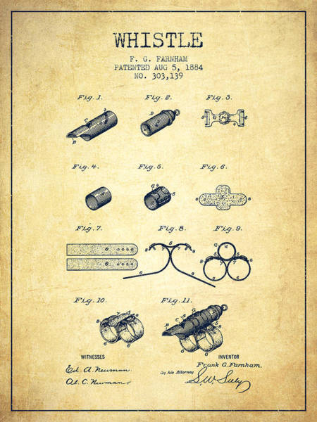 Wall Art - Digital Art - Whistle Patent From 1884 - Vintage by Aged Pixel