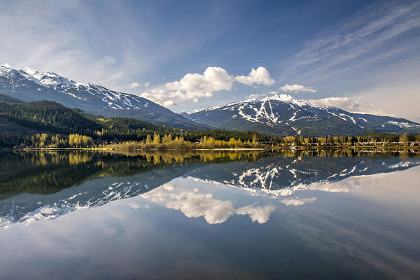 Photograph - Whistler Blackcomb Mountains Reflected In Green Lake In Autumn by Pierre Leclerc Photography