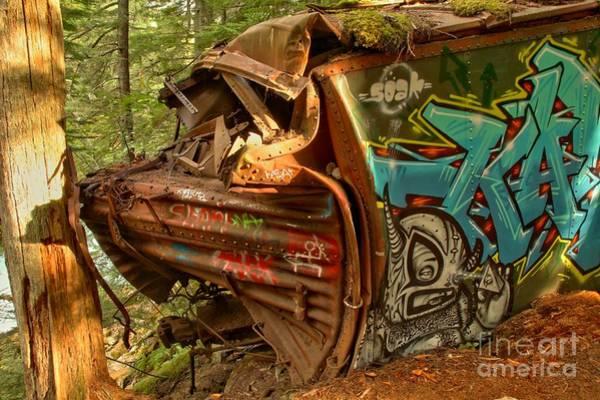 Train Derailment Photograph - Whistler Box Car Graffiti by Adam Jewell