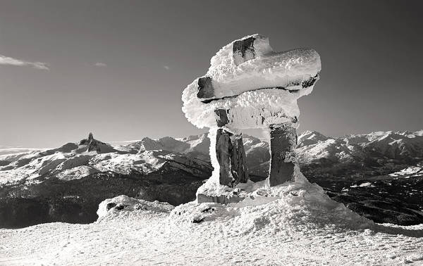Photograph - Whistler Summit Inukshuk Black And White by Pierre Leclerc Photography