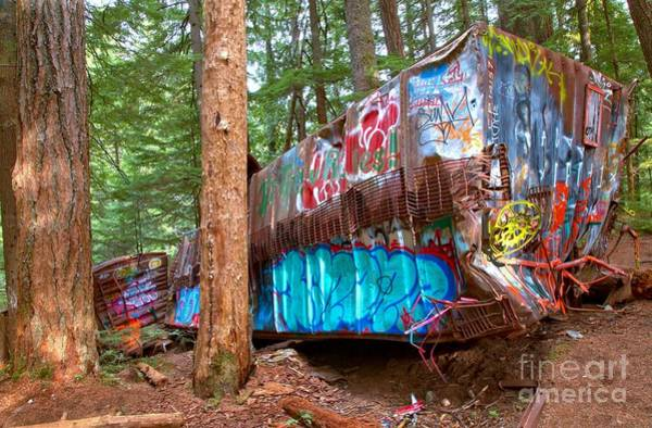 Canadian Pacific Railroad Photograph - Whistler Train Wreck Box Car Graffiti by Adam Jewell