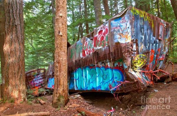 Train Derailment Photograph - Whistler Train Wreck Box Car Graffiti by Adam Jewell