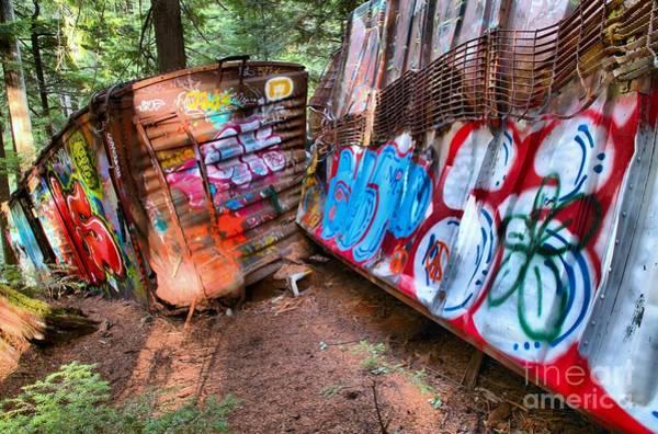 Train Derailment Photograph - Whistler Train Wreck Covered In Graffiti by Adam Jewell