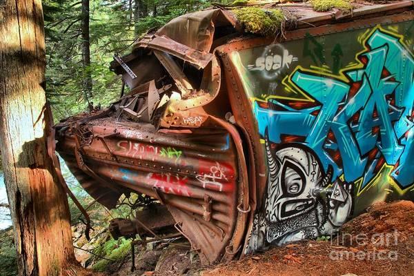 Train Derailment Photograph - Whistler Train Wreck Tree by Adam Jewell
