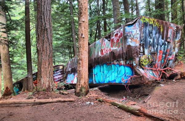 Train Derailment Photograph - Whistler Train Wreckage Among The Trees by Adam Jewell