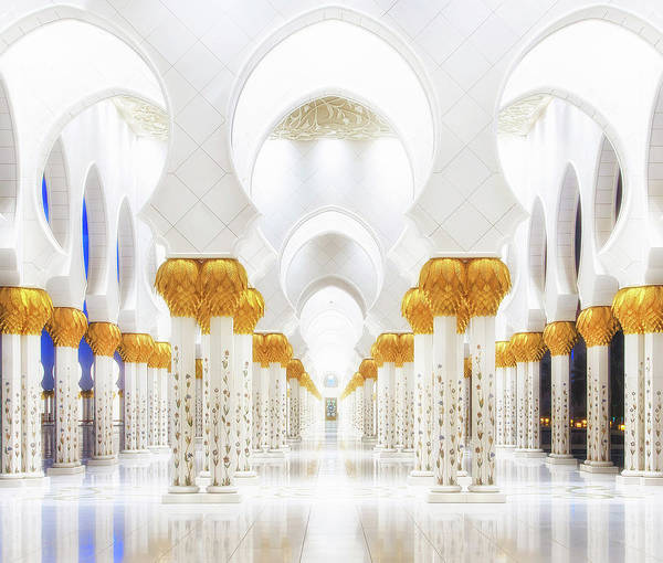Mosque Photograph - White And Gold by Mohamed Raof