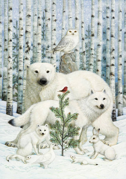 Arctic Wolves Photograph - White Animals Red Bird by Lynn Bywaters