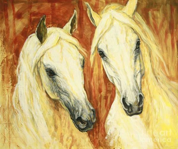 Arab Horse Painting - White Arabian Horses by Silvana Gabudean Dobre
