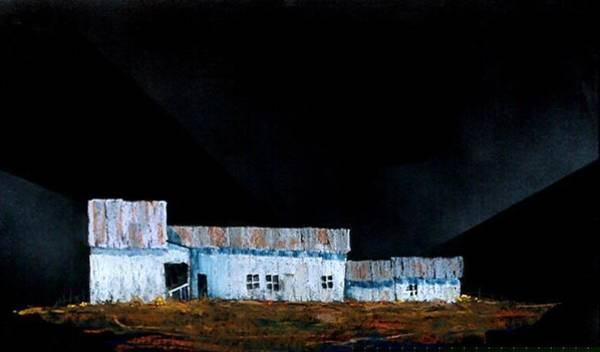 Painting - White Barn On Black by William Renzulli