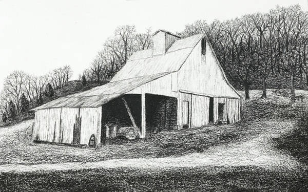 Mississippi River Drawing - White Barn On Bluff Road by Garry McMichael