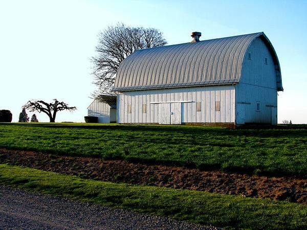 Photograph - White Barn Sunset Howell Prairie by Lora Fisher