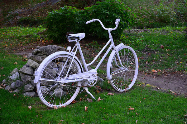 Photograph - White Bicycle by Dragan Kudjerski