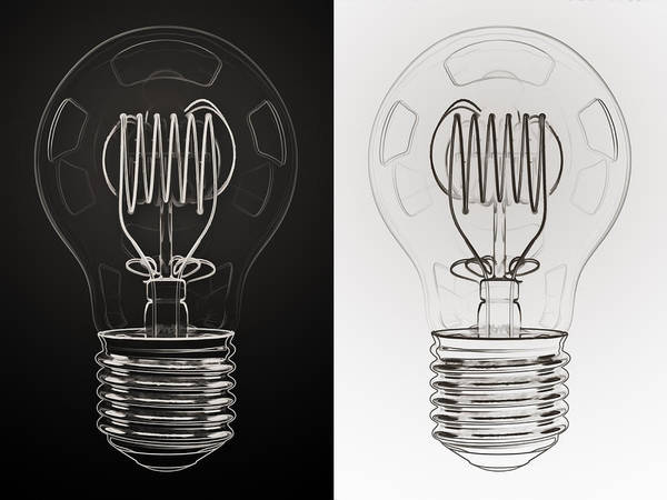 Generate Wall Art - Digital Art - White Bulb Black Bulb by Scott Norris