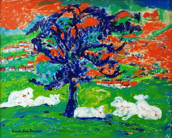 Impasto Photograph - White Bullocks Under A Tree Acrylic On Canvas by Brenda Brin Booker