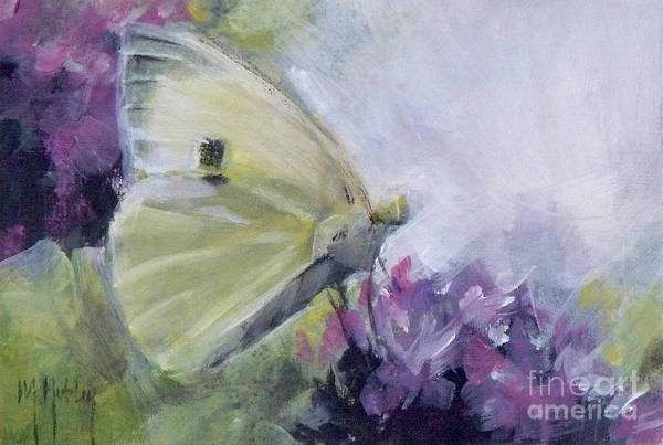 Cabbage White Painting - White Butterfly 2 by Mary Hubley
