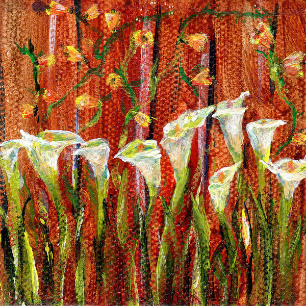 Painting - White Calla Lilies 3 By 3 Inch Miniature Painting by Regina Valluzzi