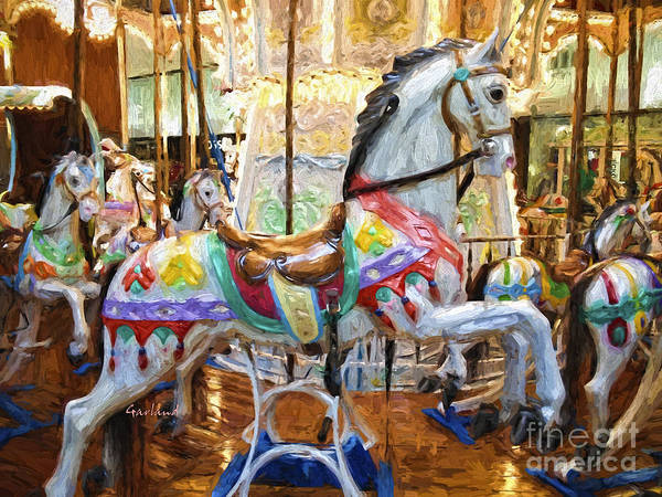 Carousel Mixed Media - White Carousel Horse by Garland Johnson