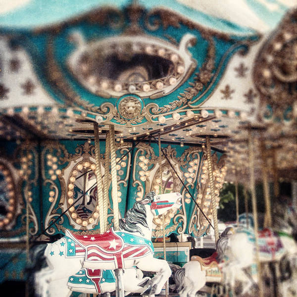 Wall Art - Photograph - White Carousel Horse On Teal Merry Go Round by Lisa Russo