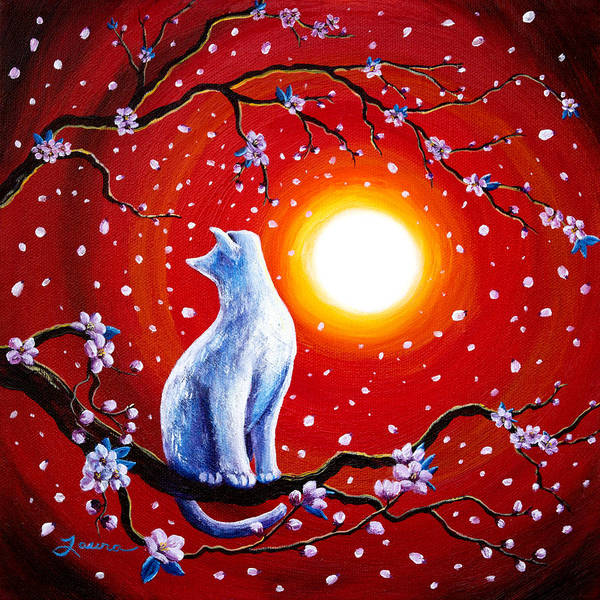 Wall Art - Painting - White Cat In Bright Sunset by Laura Iverson