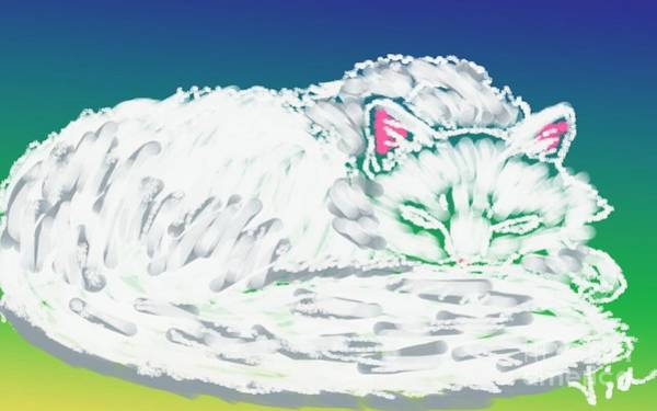 Curl Up Painting - White Cat by Judy Via-Wolff