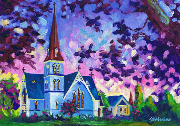 Painting - Easter Painting - White Church At Night by Ekaterina Chernova