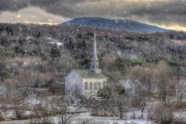 Photograph - White Church In Stowe Vermont by Joann Vitali