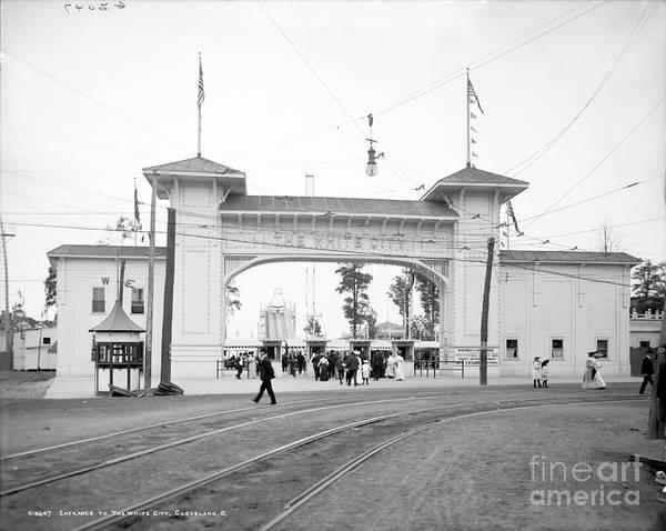 Wall Art - Photograph - White City Amusement Park Entrance Cleveland by Historic Vantage