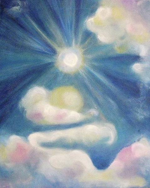 Leclair Painting - White Clouds And Sun by Suzanne  Marie Leclair