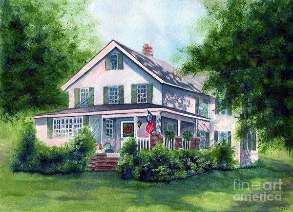 Pocono Mountains Wall Art - Painting - White Country Farmhouse by Janine Riley