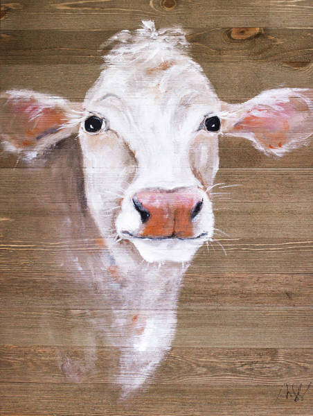 Wall Art - Painting - White Cow by Molly Susan Strong