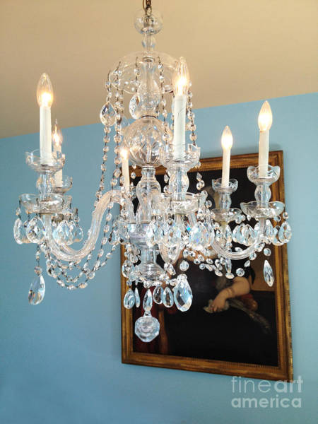 Wall Art - Photograph - White Crystal Chandelier - Teal Aqua Blue And White Opulent Elegant Crystal Chandelier  by Kathy Fornal