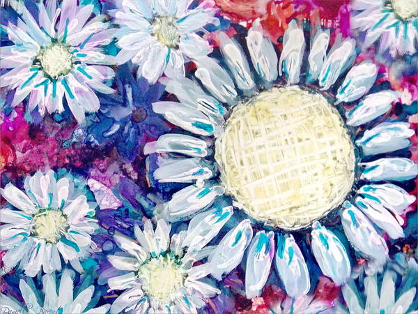 Painting - White Daisies Alcohol Inks by Danielle  Parent