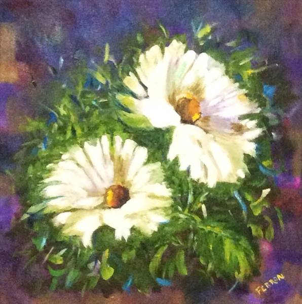 Art Print featuring the painting White Daisies  by Patti Ferron