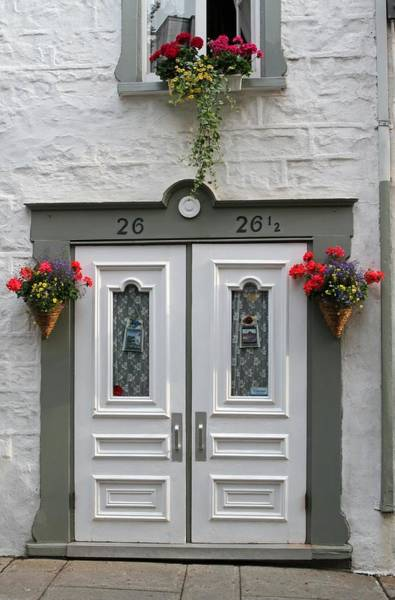 Photograph - White Doors With Flowers In Quebec by Juergen Roth