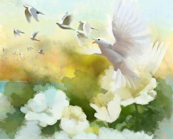 Canaries Painting - White Doves by Catf