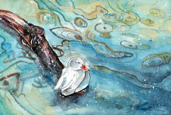 Painting - White Duck On The Constance Lake In Winter by Miki De Goodaboom