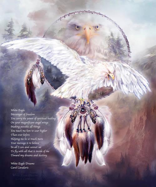 Mixed Media - White Eagle Dreams W/prose by Carol Cavalaris