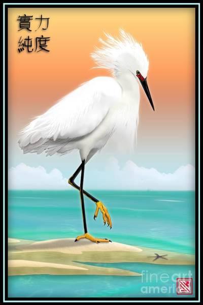 Egret Digital Art - White Egret On Beach by John Wills