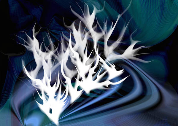 Digital Art - White Fire Abstract by rd Erickson