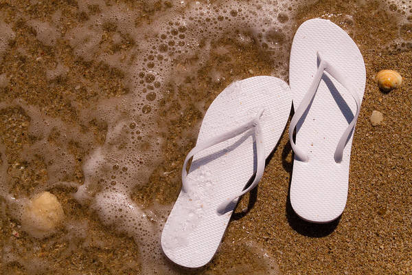 Photograph - White Flip Flops On The Beach by Teri Virbickis