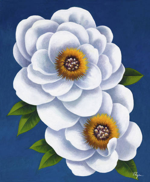 Wall Art - Painting - White Flowers On Blue I by Vivien Rhyan